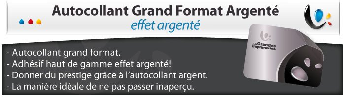 Grand format autocollant argent